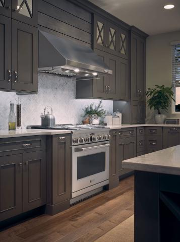 Gray Farmhouse Kitchen Pro Range and Hood