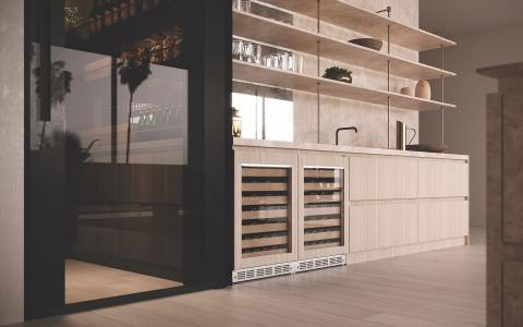 Light wood cabinetry with open shelving and built-in wine reserves